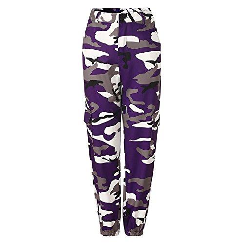 Mxssi Hot Femmes Camouflage Pant Taille Haute Hip Hop Camo Pantalon avec poches Violet L