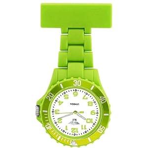 Prince London, New York, gummierter Kunststoff Schwesternuhr Uhr mit Stift-Hellgrün mit weißen Ziffernblatt