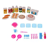 SGerste Dollhouse Miniature Kitchen Accessories Food & Tableware Set for Barbie Doll Toys
