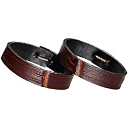 24mm Brown Watch Strap Retaining Hoop Luxury Crocodile Embossed Calfskin Leather(Two Pieces One Pack)