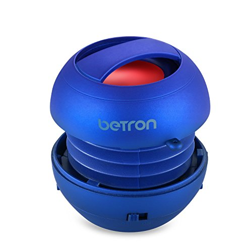 Betron JRS40 Pop Up Portable Mini Travel II Capsule Rechargeable 40mm Speaker For Iphone, iPod, Ipad, Tablets and MP3 Players - Blue