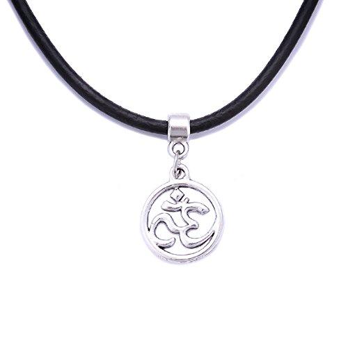 Black Real Leather Cord Tibetan Silver Charm Choker Necklace Pendant Retro Hippy For Women Lady Girl vgK0s1