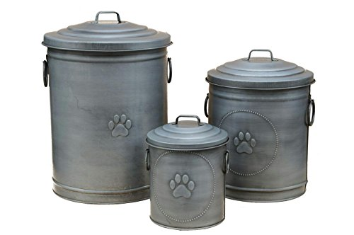 Hundetonne - Material: Zink - 3er Set - Futter Aufbewahrung / Futtertonne für Trockenfutter