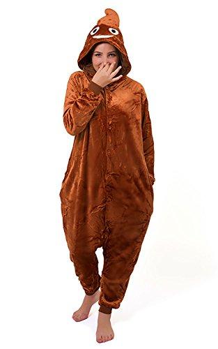 Unisex Poo Poop Emoji Onesie Kigurumi Pyjama Karneval Kostüm Maskenkostüm Kapuzenpulli Schlafanzüge XL(Height 180cm-190cm)