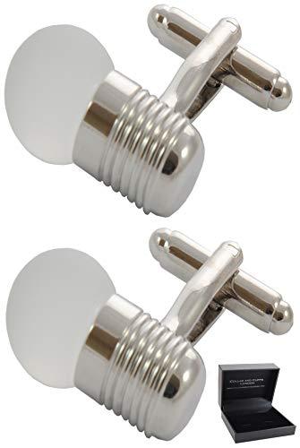 COLLAR AND CUFFS LONDON - Boutons de Manchette avec Boite-Cadeau - Grand Qualité - Ampoule - Laiton - Couleur Argent - Ingénieur Électricien Électriqu