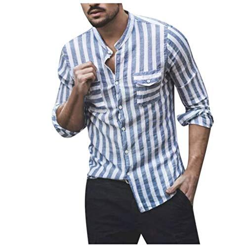 Classics Herren Freizeit Hemd kariert Checked Shirt Karo Hemd mit 2 Brusttaschen Kragenlose Relaxed Striped -