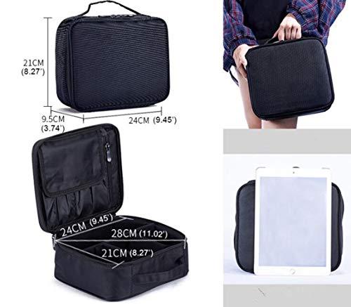 24 * 9.5 * 21cm mini Velcro Cosmetic Bag Multi-Function caso cosmetico portatile,Nero