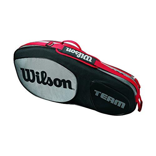 Wilson Damen/Herren Tennis-Tasche, für Spieler aller Spielstärken, Team III 3 PK, Einheitsgröße, schwarz/grau, WRZ853803