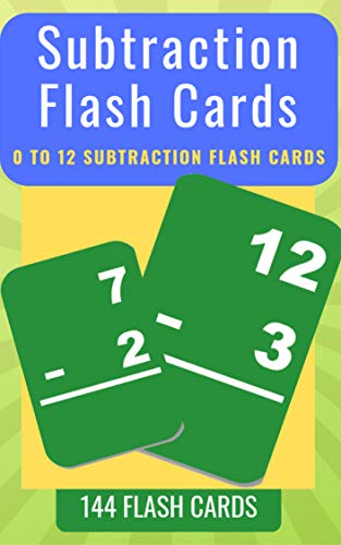 Subtraction Flash Cards: 0 To 12 Subtraction Flash Cards For Kids ...