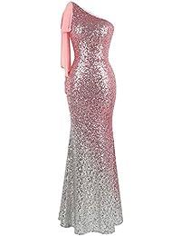 fd3ae198c07 Angel-fashions Women s One Shoulder Dresses Gradient Sequin