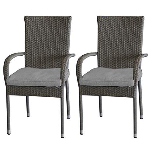 2 Stück Rattanstuhl, Stahlgestell beschichtet, Polyrattanbespannung Grau-meliert, platzsparend stapelbar inkl. Sitzkissen Grau, UV- & Wasserbeständig - 2 Stück Metall-stuhl