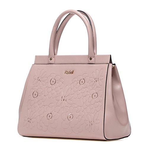 a700bb5789255 Kadell Damen Leder Handtasche Top Handle Satchel Tote Geldbörse für Frauen  Stickerei Blume Tasche Schwarz Lotusfarbe