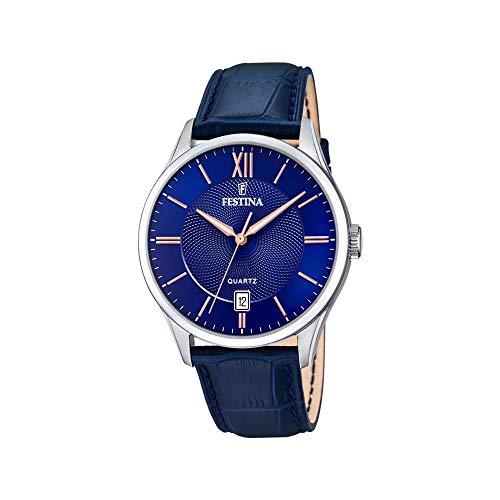 Festina Herren Analog Quarz Uhr mit Leder Armband F20426/5