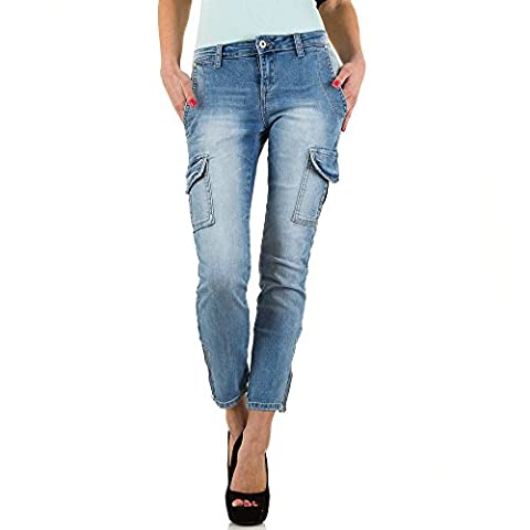 Used Look Cargo Skinny Jeans Für Damen , Blau In Gr. 40 bei Ital-Design (Damen Cargo-stil Jeans)
