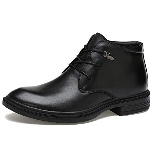 Hgdr stivaletti chelsea da uomo in pelle nera eleganti scarpe stringate casual eleganti stivali alti da uomo. uomo resistente all'abrasione,black-41