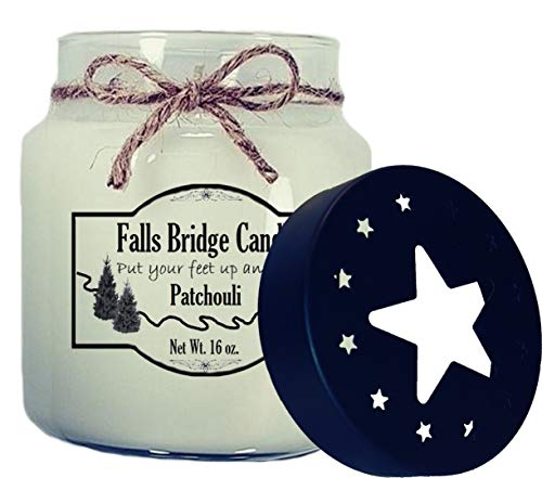All Natural Soy Jar Candle (Falls Bridge Candles Patchouli Scented Jar Candle, 16-Ounce, w/Star Lid)