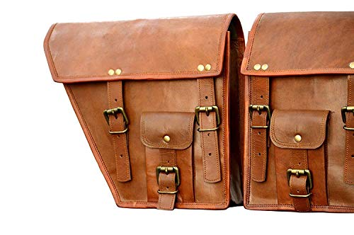 LBH 2 X Rowdy Echt Leder Vintage Braun Motorrad Bike Satteltasche Fahrrad Tasche (Motorcycle Side Pouch Brown Leather Side Pouch Saddlebags Saddle Panniers (2 Bags) Motorcycle Bicycle Bike)