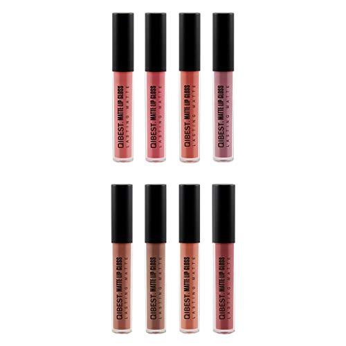 Kit de brillant à lèvres 8PCS, GreatestPAK rouge à lèvres liquide mat imperméable à l'eau cosmétique sexy