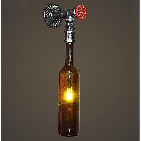 Industrial Vento Retro Bottiglia di birra della lampada da parete del tubo di acqua lampada da parete personalizzato i creativi ristorante Luci Camera Studio Cafe Lights