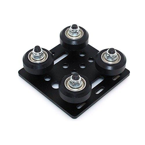 Support BIQU pour imprimante 3D – En alliage d'aluminium – Plaque avec fente et roues en plastique – Système de roulement de poulie