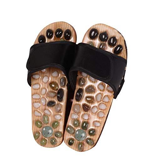 Massage Sandale/Akupressur Massage Hausschuhe Reflexologie Sandalen mit Naturstein Therapeutisch für Fußmassage Shiatsu Arch Schmerzlinderung Rutschhemmend Antibakteriell