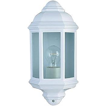 Asd 60w Half Lantern Outdoor Wall Light With Pir White