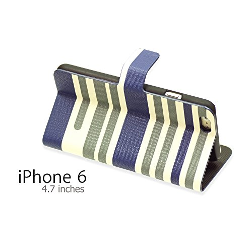OnlineBestDigital - Striped Style PU Leather Wallet Flip Stand Case / Housse pour Apple iPhone 6 (4.7 inch)Smartphone - Hot Pink avec 3 Film de Protection Bleu