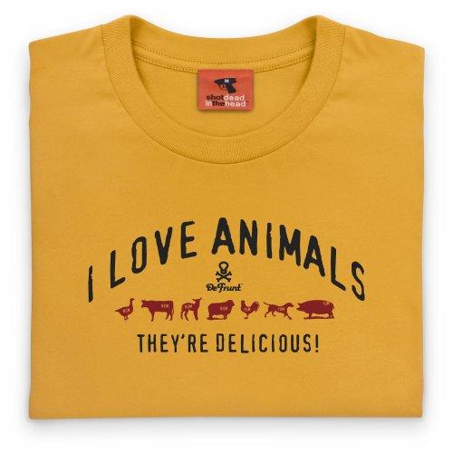 General Tee I Love Animals T-Shirt, Herren Gelb