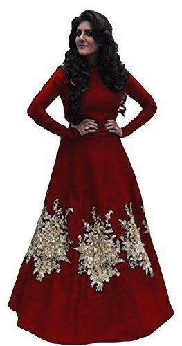 Sunshine Fashion Maroon Color Tapeta Silk Fabric Embroidred Semi Stitched Gown ( New...