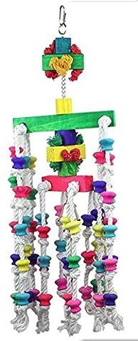 NWYJR Perroquet de jouets oiseaux jouets toutes naturelles bois Metal crochet coton corde Durable mâcher non-toxique Station oiseau perroquet jouets petites moyennes grandes