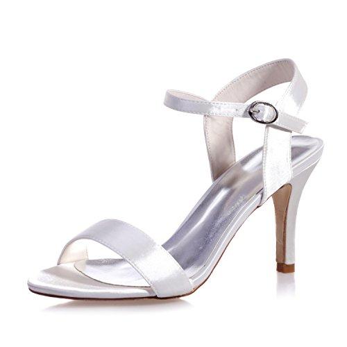Chalmart Sandales à Talon Escarpins à Aiguille Chaussures De Soirée Mode élégant Blanc