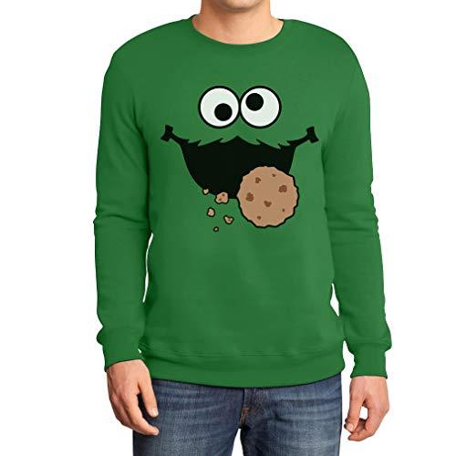 Karneval & Fasching Männer Keksmonster Kostüm Pulli Sweatshirt XX-Large Grün