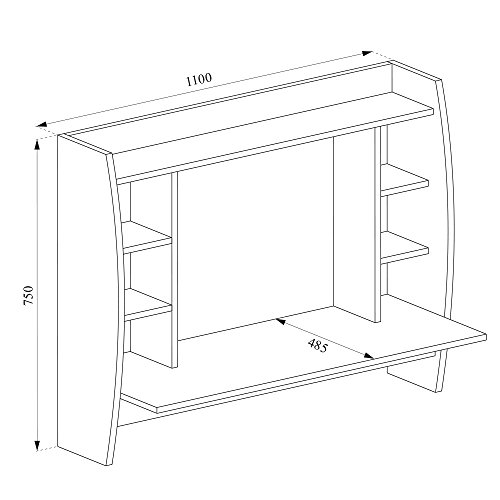 VICCO Wandschreibtisch MAX 110 cm - Schreibtisch Wandschrank Wandtisch Bürotisch Arbeitstisch für PC Computer - 3 Dekore (Weiß) - 6