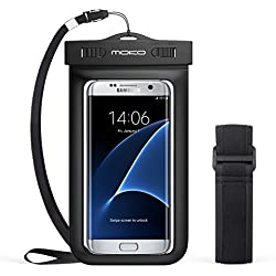 MoKo Funda Impermeable - Waterproof Brazo y Cuello Compatible para iPhone 7/ 7 Plus/ iPhone 6s/ 6s Plus/ Galaxy S7/ S7 Edge/ P7 P8 P9 y Smartphone 5.7 Pulgadas - IPX8 Certificado, Negro