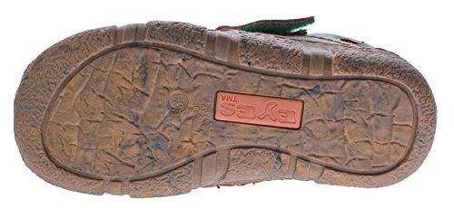 Damen Comfort echt Leder Sandaletten TMA 7008 Schuhe viele Farben Zeitungsdruck Halbschuhe Sandalen Grün