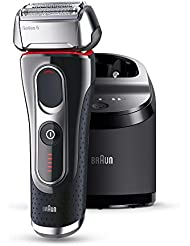 Braun Series 5 5090cc elektrischer Rasierer (Rasierapparat mit Reinigungsstation (Clean und Charge), Elektrorasierer einsetzbar als Trockenrasierer und Nassrasierer (Wet und Dry)) schwarz/silber/rot