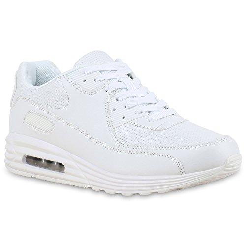 Herren Sportschuhe Leder-Optik | Sneakers Velours Glitzer | Metallic Runners | Freizeitschuhe Schnürer White White