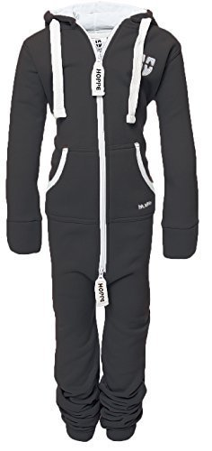 Hoppe Kinder Jumpsuit Overall Jogger Trainingsanzug Mädchen Anzug Jungen Onesie (9-10 Jahre/year, dunkel grau)