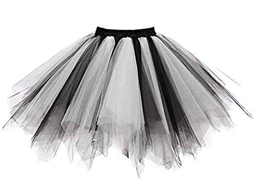 SUPIPARTY Damenrock Mädchen Ballett Tüllrock Partyrock 3-Lagig Tütü Tutu Rock Vintage, 25cm, XXS, schwarz weiß SP-11005 (Weiß Und Schwarz Tutu)