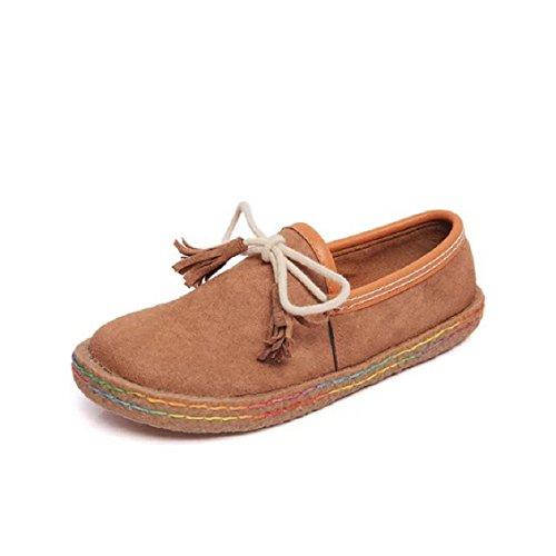 Transer® Damen Flach Mokassins Frühling/Herbst Casual Schuh Scrub+Gummi Sandelholz Slipper(Bitte eine Nummer größer bestellen. Vielen Dank!) Braun