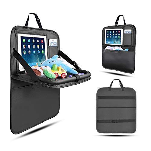 Rückenlehnenschutz Auto, Autositzschoner Rückenlehne Kinder Auto-Organizer mit Faltbares iPad-Tablet-Halter, Tablett Multi-Pocket Sitzschoner (1 Pack-Klein) - 3-zoll-leder-gürtel Arbeit