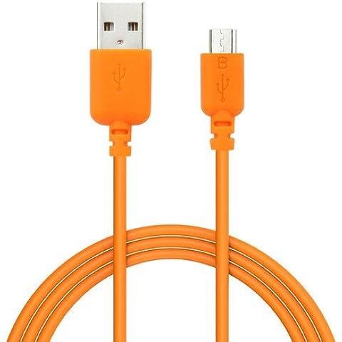 EZOPower EZCB15O - Cable USB 2.0 de carga y datos, 1.8m, color naranja