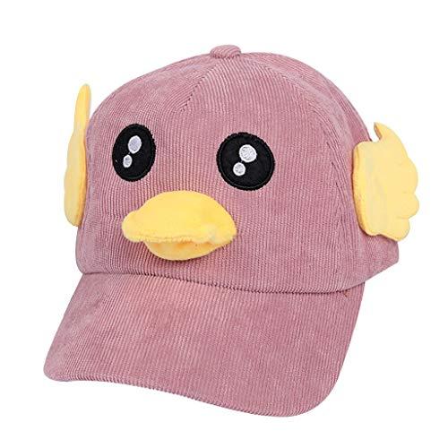 Beanie Baby Ente Kostüm - ziYOU hat Kinder Cap niedliche Ente Cartoon Print Stickerei Leinwand Faltbare im freien Sonnenhut(One Size, Rosa)