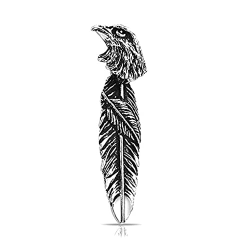 Patriotic 925 Sterling Silver Eagle Feather Oxidized