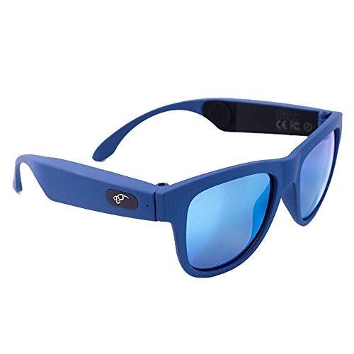 ANLW Knochen Leitfähige Sonnenbrille 4.1 Wireless Bluetooth Stereo Headset Akzeptieren Polarisierte Sonnenbrille Kompatibel Smartphone iPhone HTC LG Samsung Android Windows (Blau)