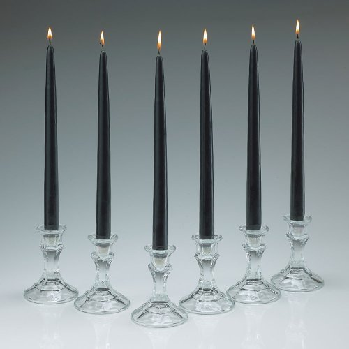 Elegant Black Unscented Taper Candles 12 Inch Tall 3/4 Inch Thick Set of 12 Burn 10 Hours by Light In The Dark