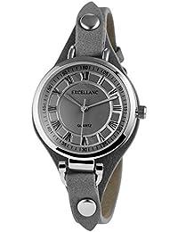 Trend de Wares de mujer reloj de pulsera Gris plata analógico de cuarzo metal cuero mujer reloj