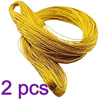 STOBOK 2 Rollos Cuerda metálica Cuerda de la joyería Etiqueta de la Cuerda Cuerda de Regalo de Nylon Cuerda 1 mm 100 Yarda/Rollo (Oro)