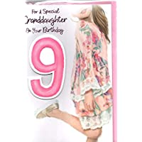 to a Lovely Granddaughter on Your Birthday Card Age 9.to A Special Granddaughter On Your 9th Birthday ~ Pink Dress Trendy Girl Design Size 23cm x 16cm ...