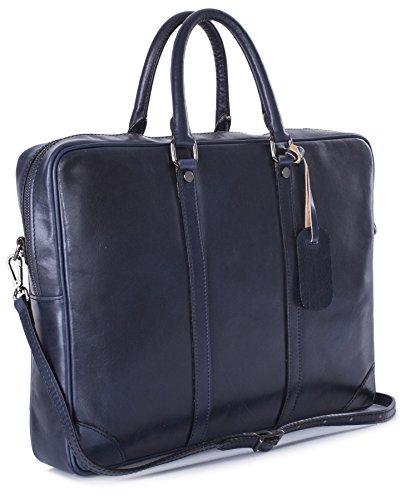 Big Handbag Shop da uomo in vera pelle cartella top Handle messenger bag Navy